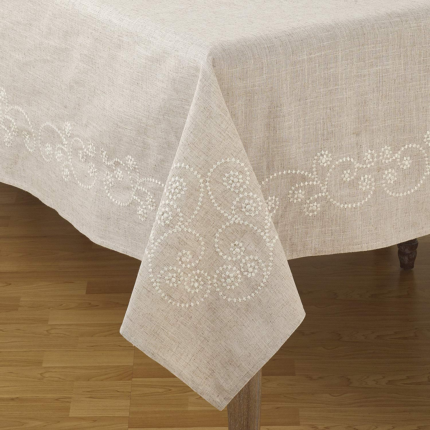 saro lifestyle embroidered swirl design linen blend accent your focus table runner natural home kitchen half circle sofa desk chair rattan garden furniture narrow oak console