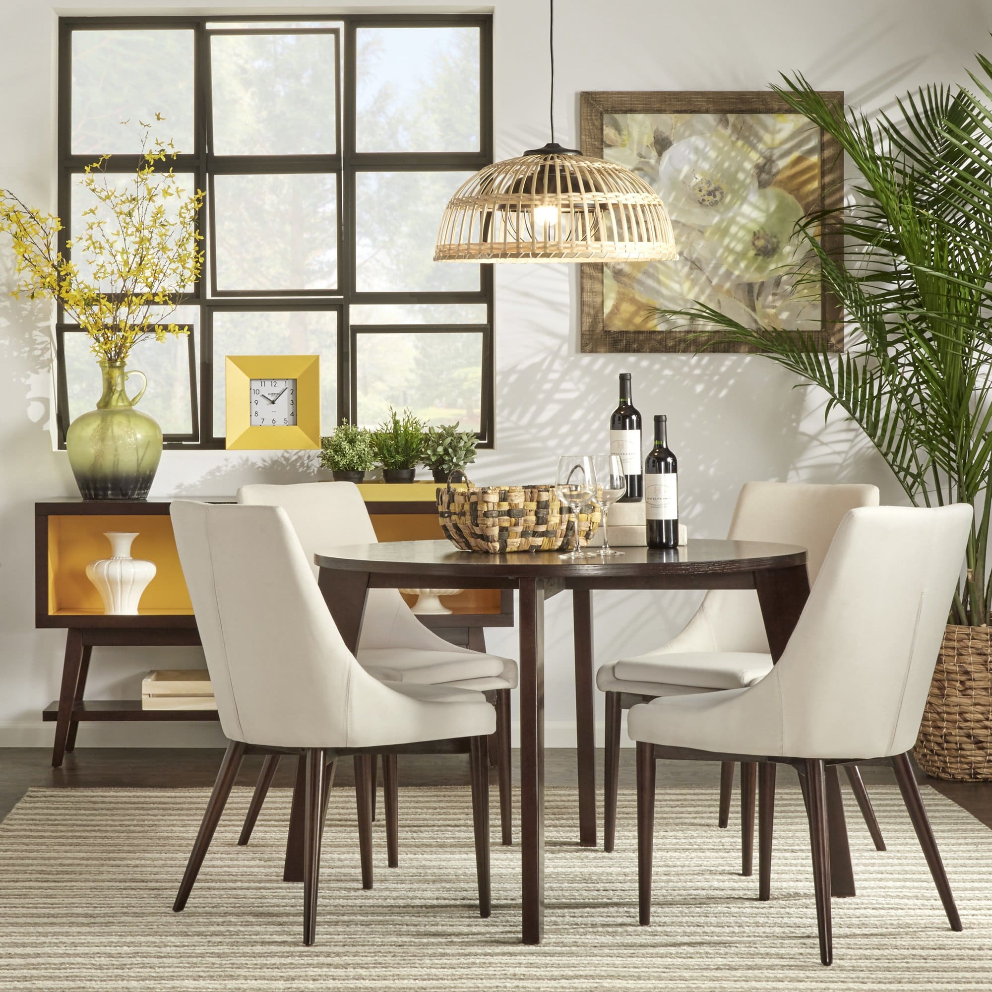sasha brown angled leg round piece dining set inspire modern accent table side with shelf large silver clock fall runner patterns free decorator tablecloths pier bench black
