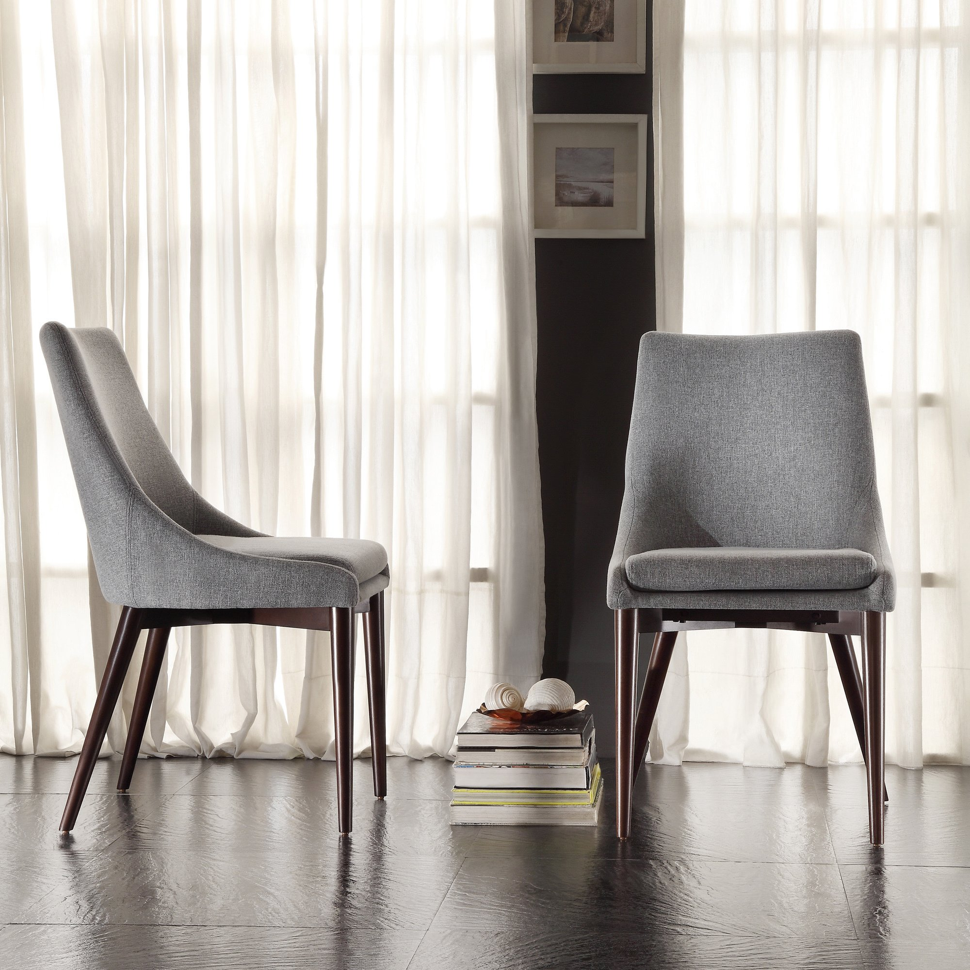sasha mid century grey fabric upholstered tapered leg dining chairs set inspire modern round accent table free shipping today patio drink small square kitchen island bar stools
