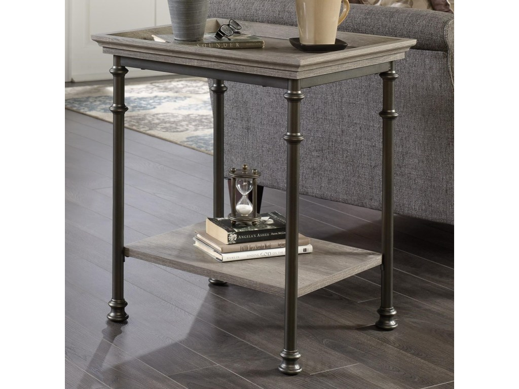 sauder canal street side table with metal frame and tray edge products color accent streetside small round covers brass lamp marble end target decorative cloths short floor lamps