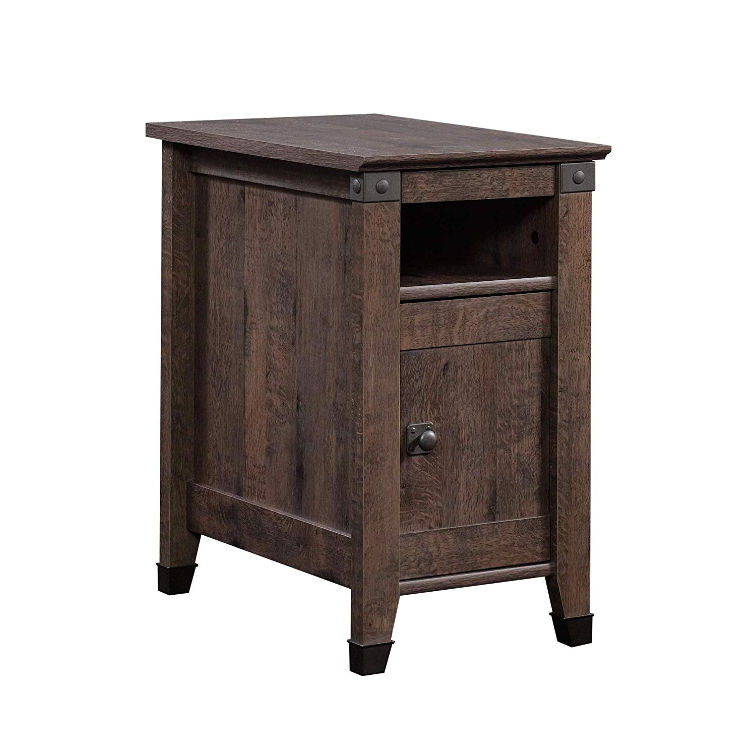 sauder carson forge side table leick corner accent coffee oak finish kitchen dining sage green rose gold skinny wine rack argos tall end mirrored with storage round drop leaf set