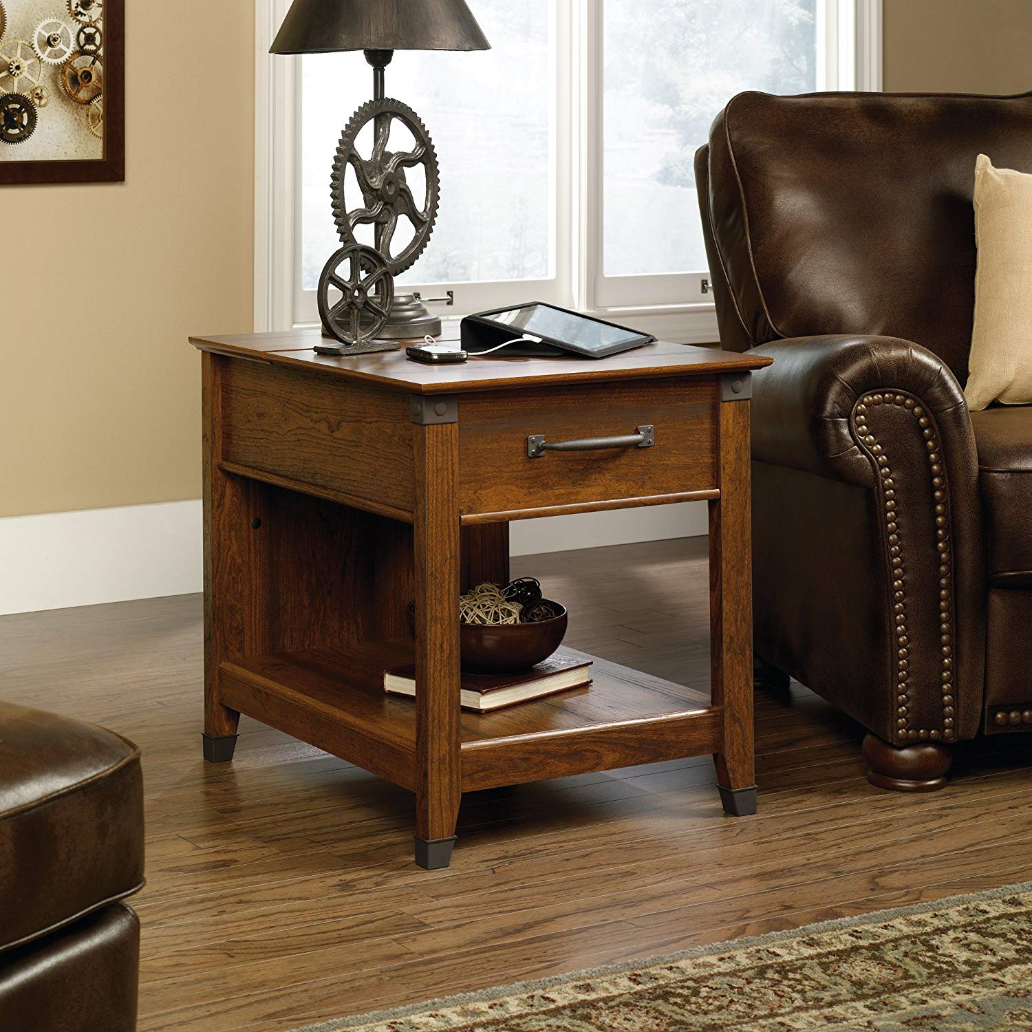 sauder carson forge smartcenter side table end with hidden power strip cherry finish kitchen dining ashley furniture rustic coffee blue lamp round and sets accent entertainment
