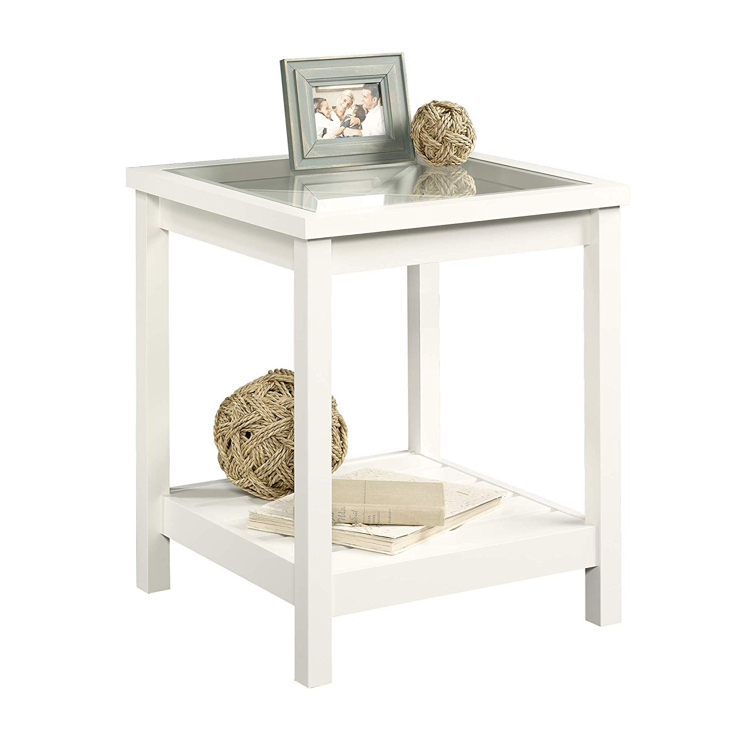 sauder cottage road side table farmhouse style accent soft white finish kitchen dining inexpensive coffee tables round wood top small foyer antique folding tall nesting barn door