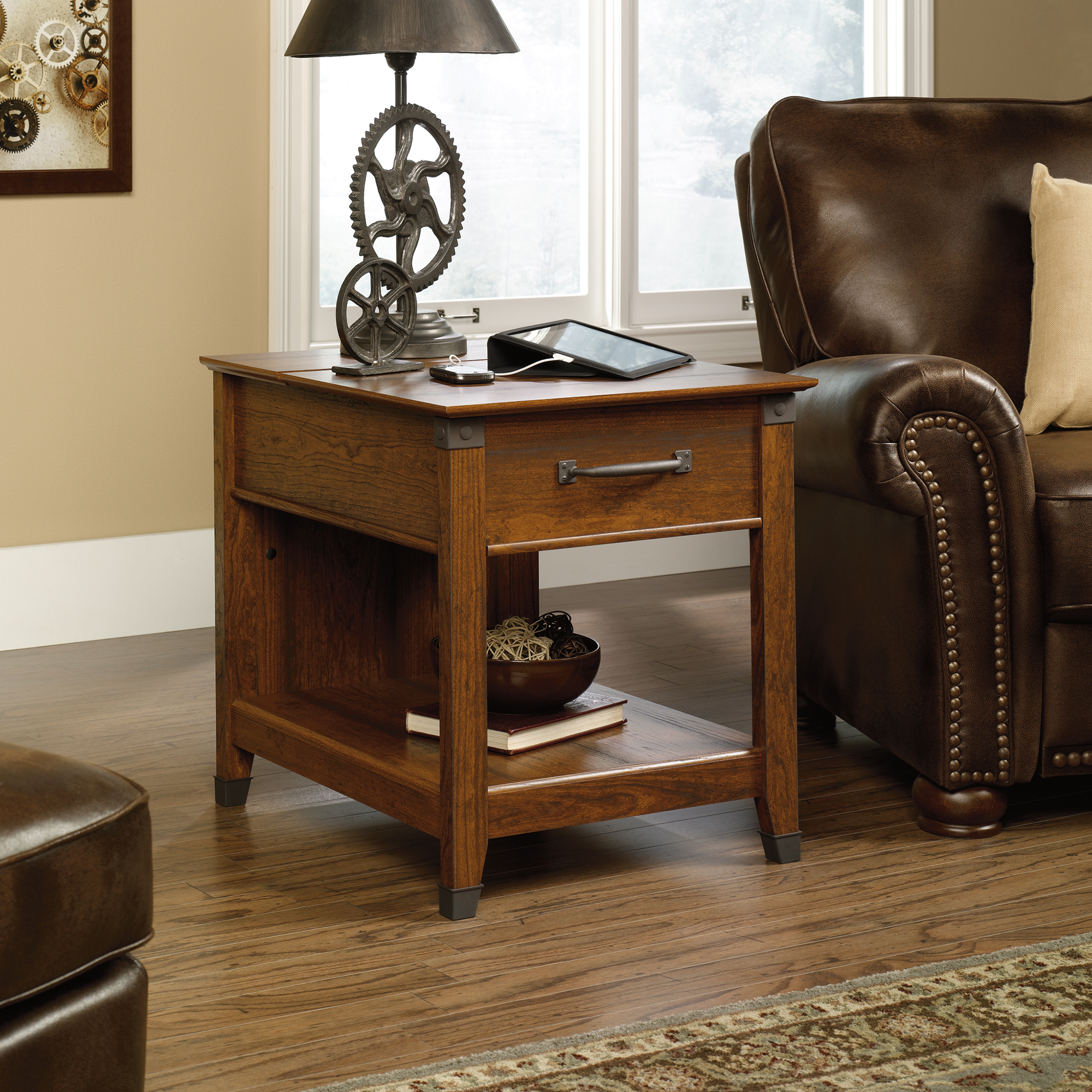 sauder eden rue accent table the furniture end with built charging station carson forge side ethan allen upholstered chairs silver chest drawers coffee cup holders ikea frame