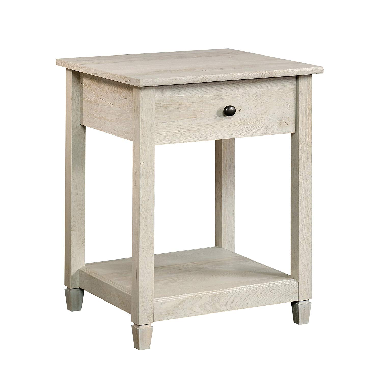 sauder edge water side table accent with barn door chalked chestnut finish kitchen dining slim sofa west elm chair allen cocktail bulk tablecloths for weddings patio furniture