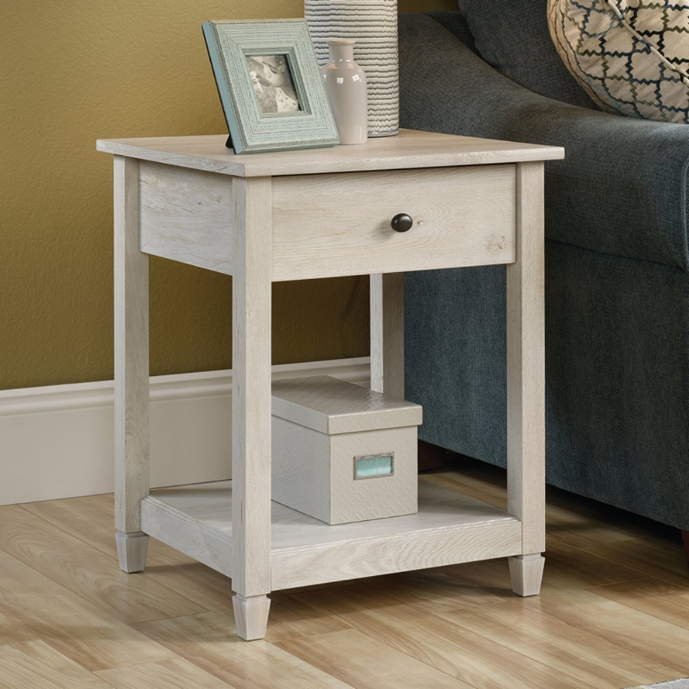 sauder edge water side table chalked chestnut options chalkedchestnut accent stock ture contemporary glass end tables west elm emmerson home goods sofa dining room cupboard