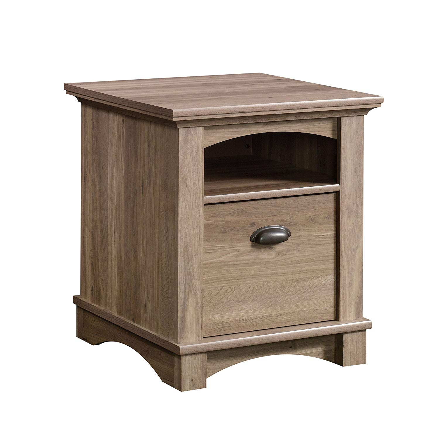 sauder harbor view side table accent with magazine holder salt oak finish kitchen dining garden and chairs clearance unique occasional tables battery touch lamp coastal lamps