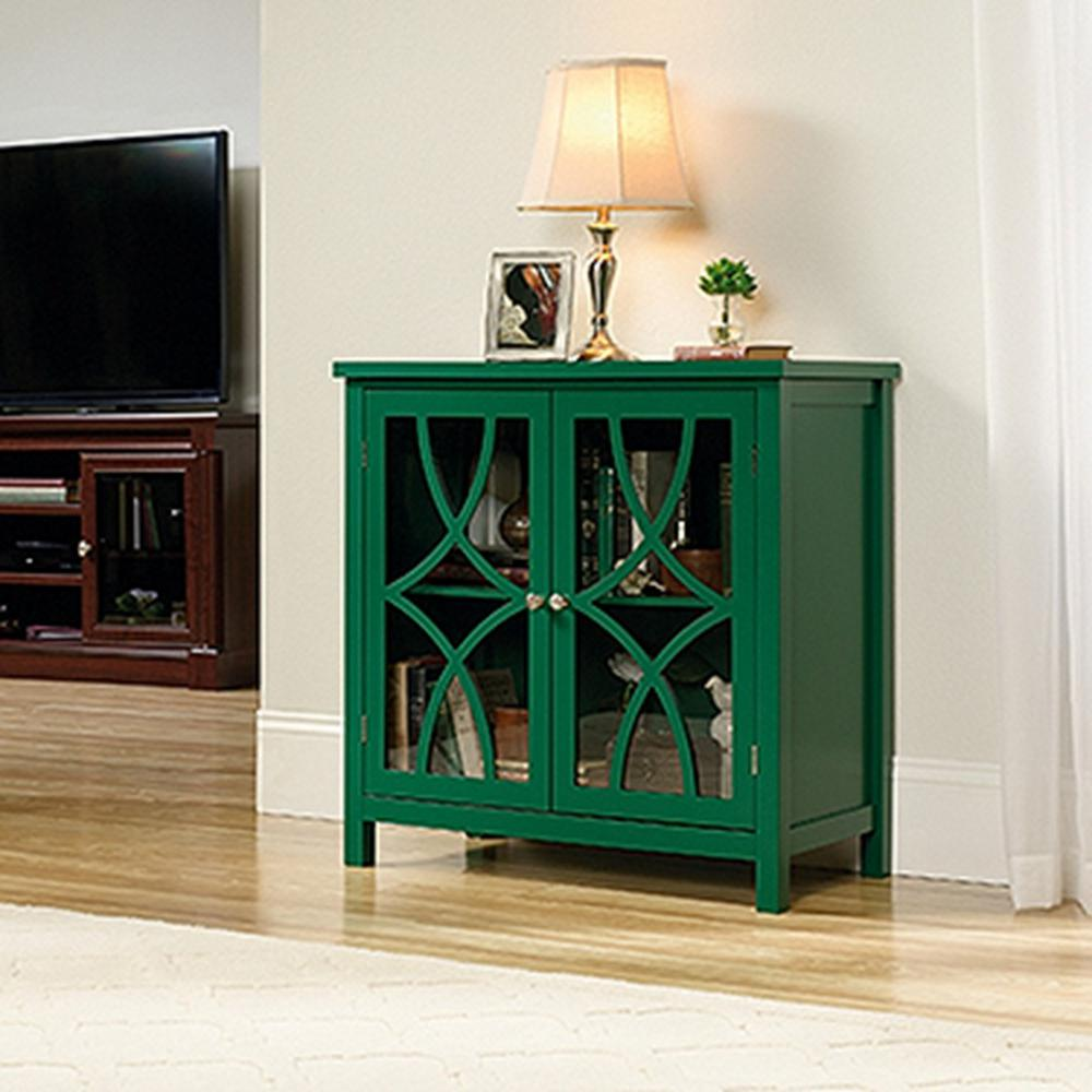 sauder palladia collection emerald green accent storage cabinet office cabinets furniture pub height table set monarch piece coffee umbrella stand base mid century modern kidney