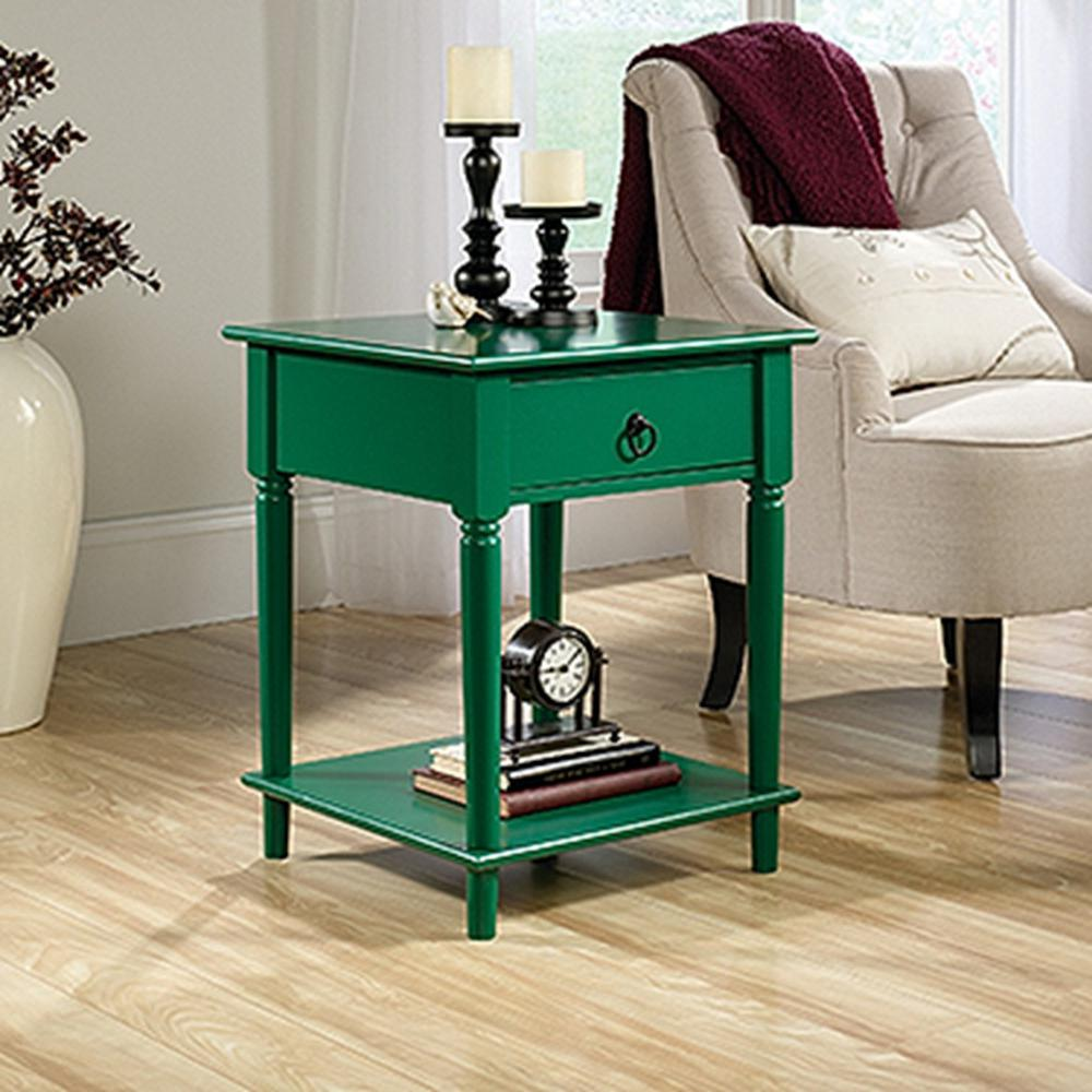 sauder palladia collection emerald green end and side table tables accent wood stump cherry buffet distressed coffee headboard with lights lamps usb umbrella legion furniture