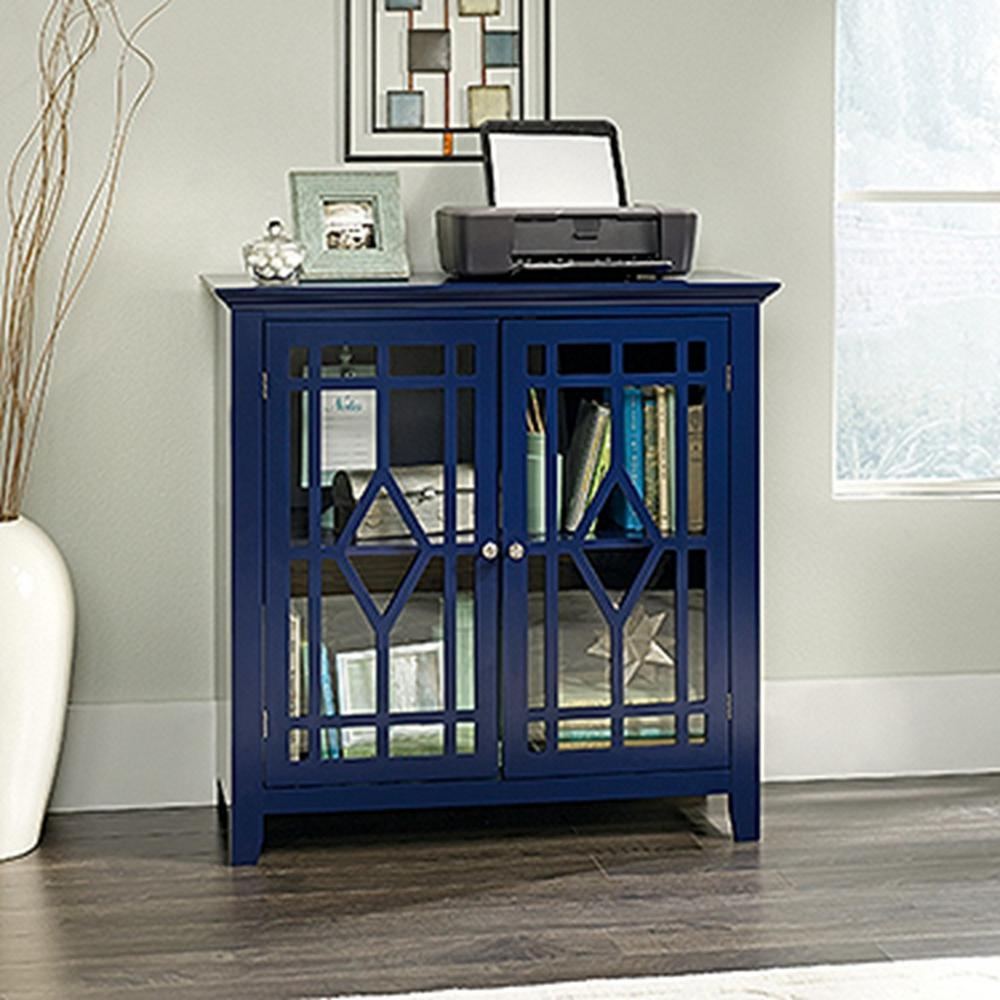 sauder shoal creek indigo blue accent storage cabinet the office cabinets furniture target windham tall skinny console table round breakfast bronze patio side grey wingback chair