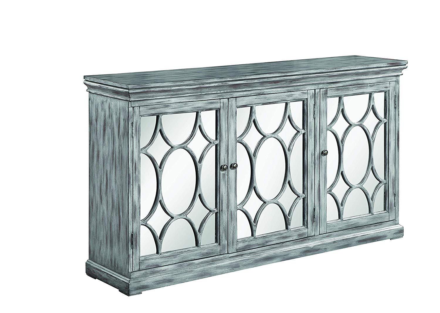 scott living accent cabinet with three mirrored doors table antique grey kitchen dining pottery barn frog drum tray end mirror outdoor chairs clearance trestle wooden bunnings
