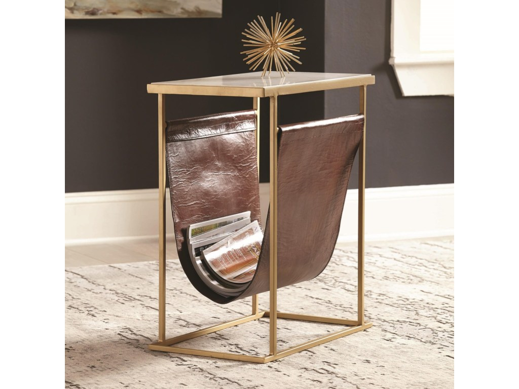 scott living modern accent table with leather pouch value products color tables screw coffee legs silver home decor wood end furniture websites farm dining bench coastal