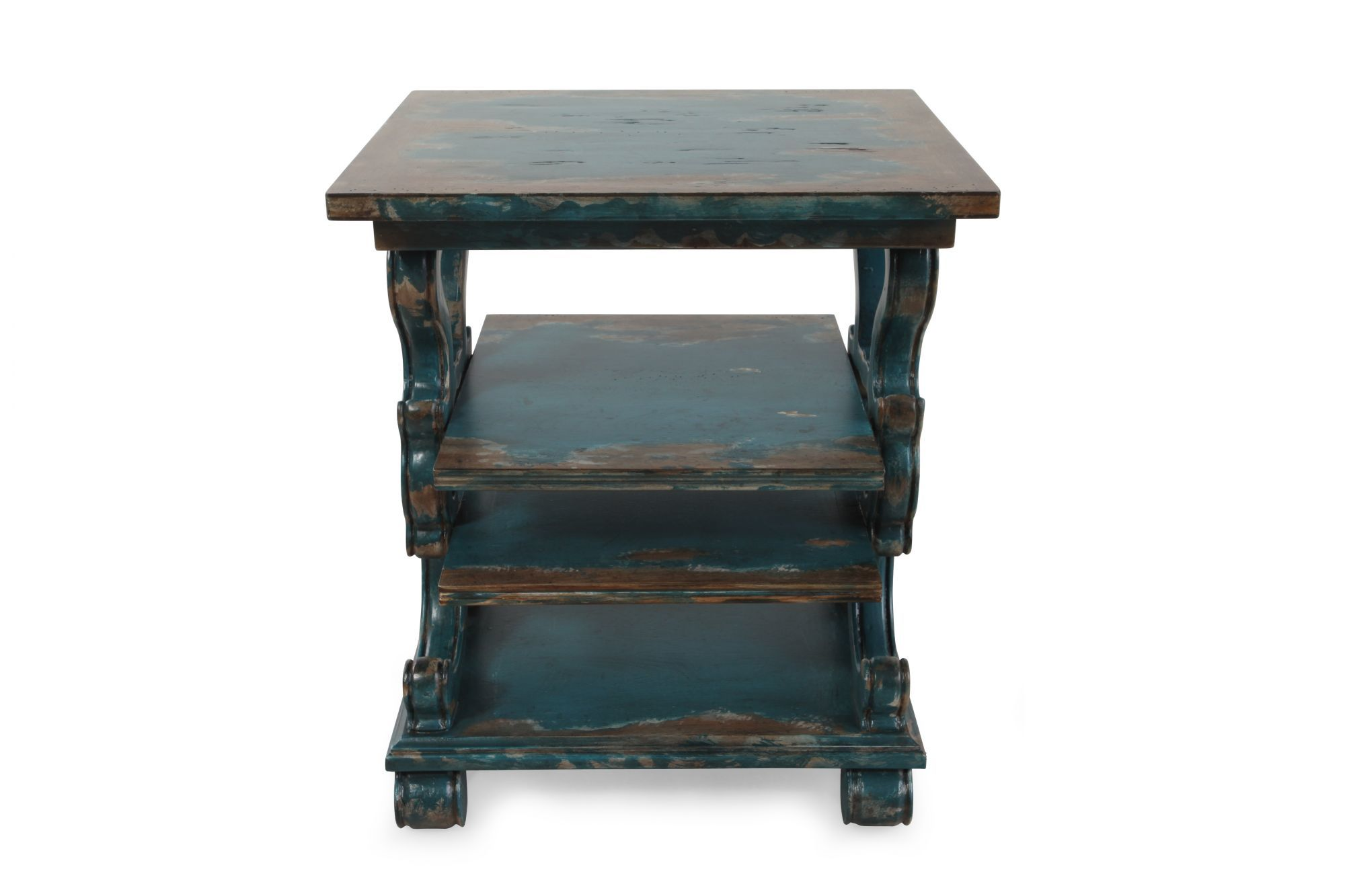 scrolled sides casual accent table azure blue mathis brothers hook antique square patio furniture covers umbrella stand pier espresso wood end tables knotty pine small round cover