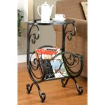 scrolling design metal and glass top accent table with magazine rack free shipping today patio umbrella bunnings home bar furniture very garden shabby chic end tables goods 150x150