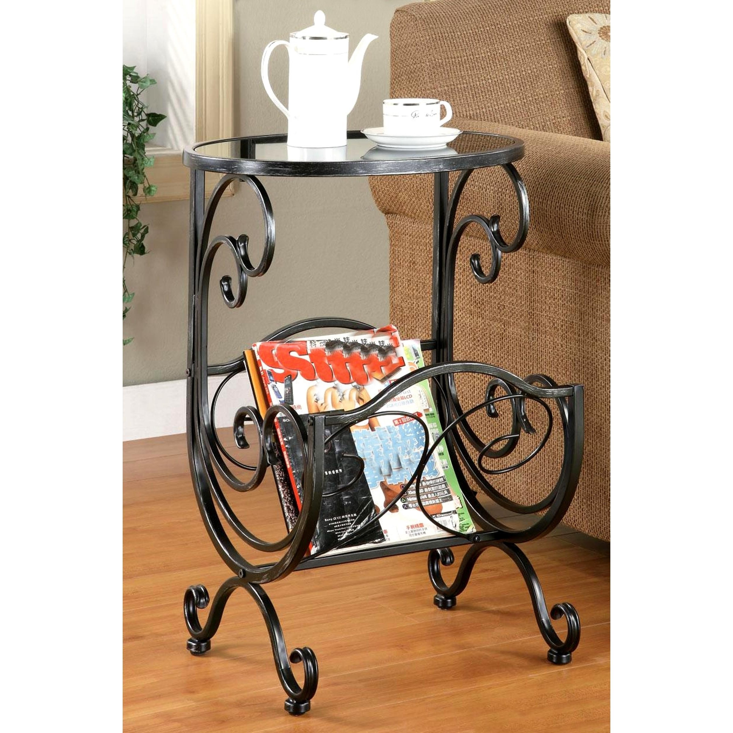 scrolling design metal and glass top accent table with magazine rack free shipping today unique outdoor umbrellas country trestle ready assembled bedroom furniture west elm small