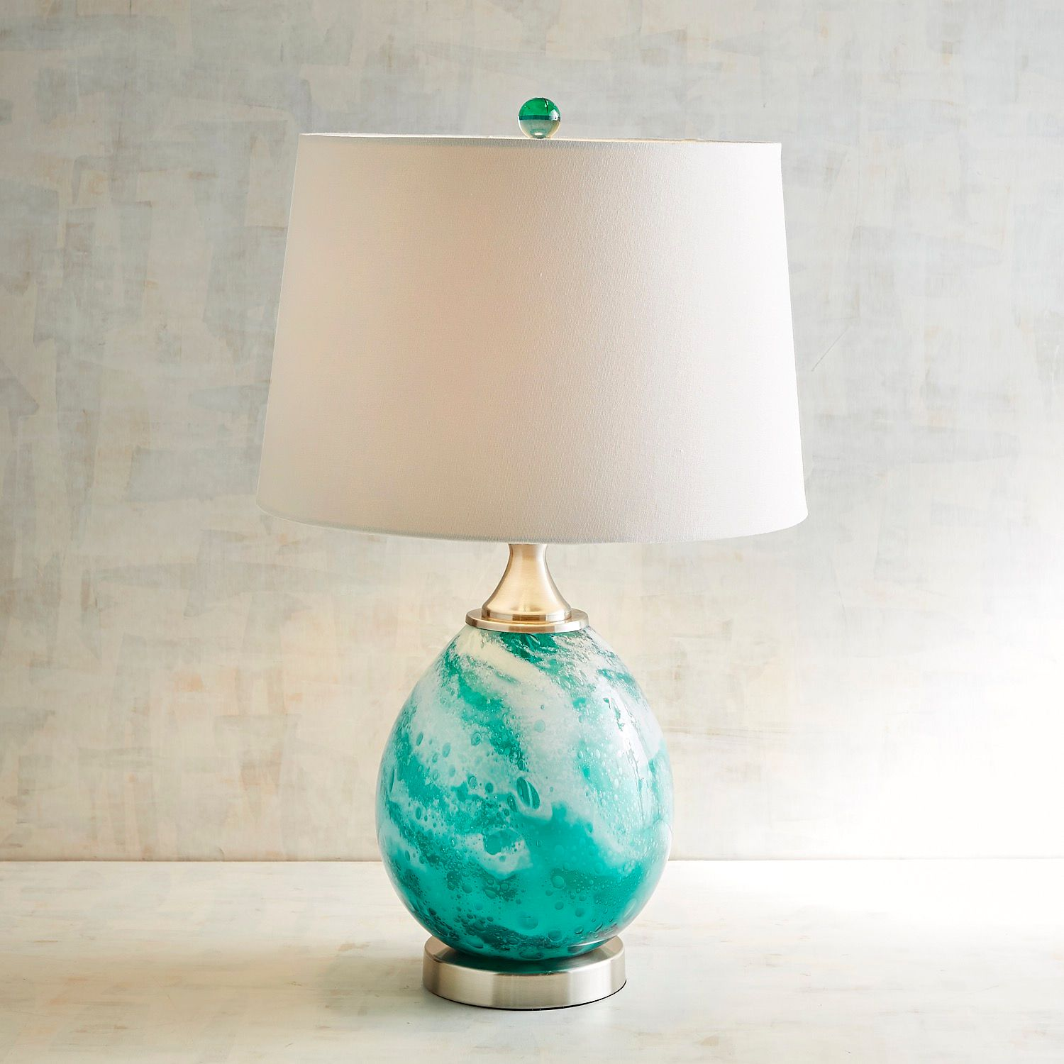 seafoam art glass table lamp pier imports one accent lamps ikea storage baskets beach cream pool furniture round and wood coffee chinese shades wedding reception decorations metal