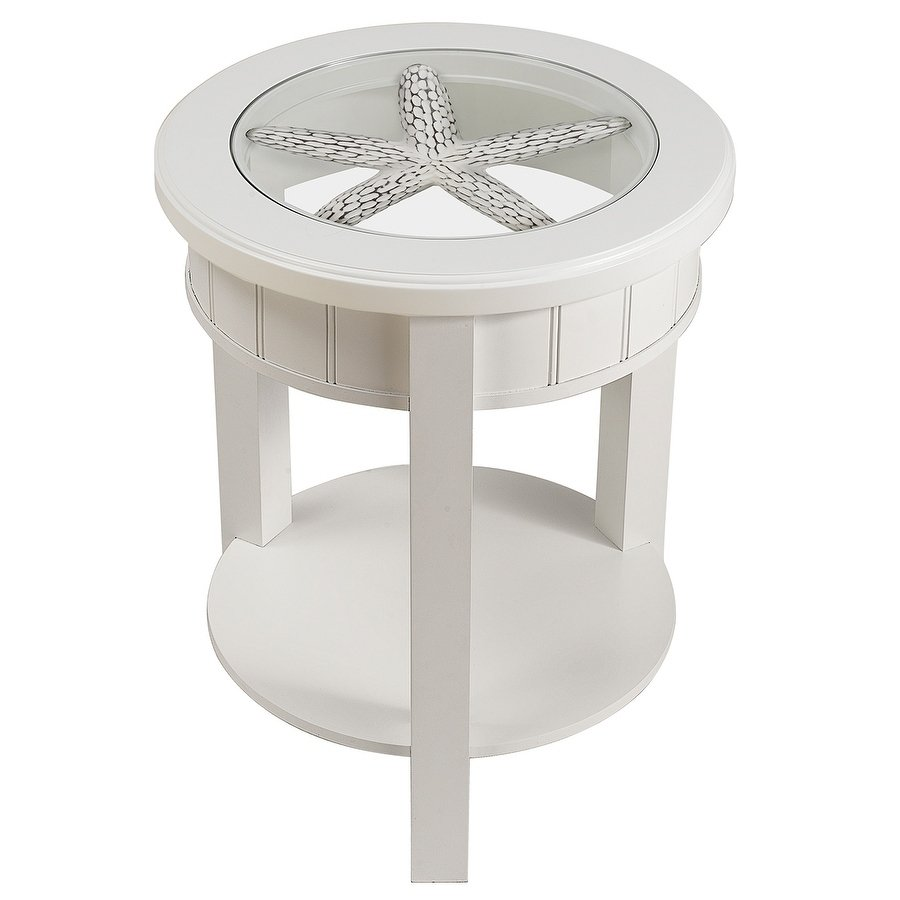 seahaven round glass top accent table white free wood shipping today oak side end with light power station living room furniture outdoor lounge chairs small triangle placemat