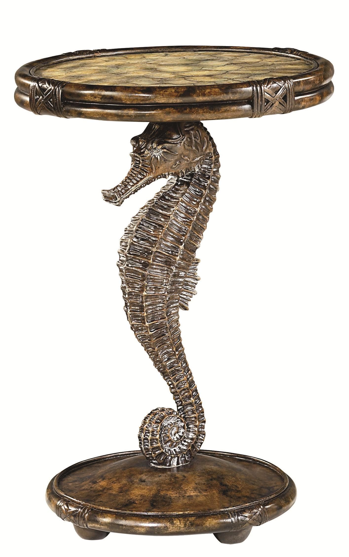 seahorse pedestal accent table with round capiz filled top beach small side steel wrought iron light bulb wood and glass cream big lots pub thin ikea nesting bedside tables corner