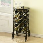 sei southern enterprises glass top wine bottle accent table with rack scroll iron smoked storage side modern stacking tables console decor double vanity marble pedestal coffee 150x150