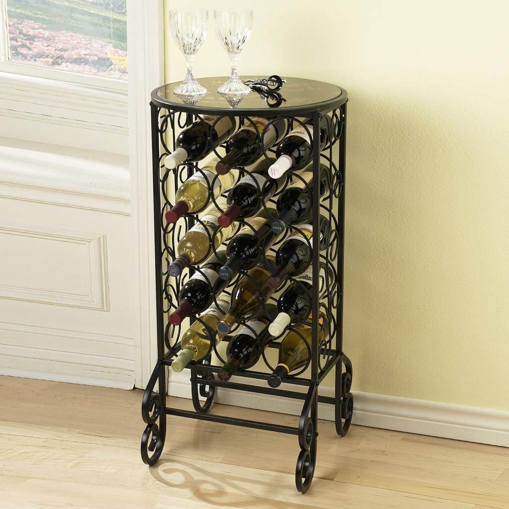 sei southern enterprises glass top wine bottle accent table with rack scroll iron smoked storage side modern stacking tables console decor double vanity marble pedestal coffee