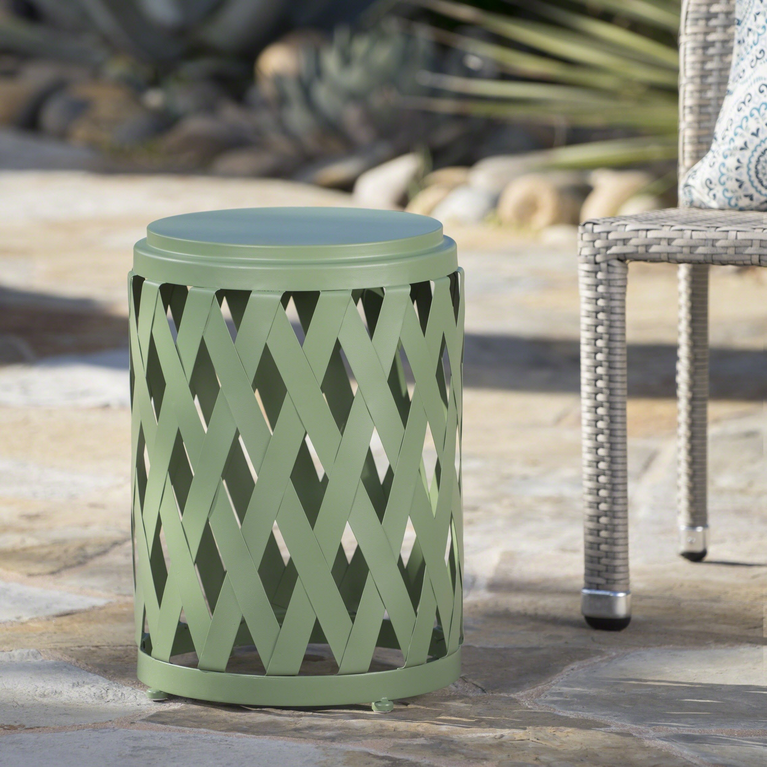 selen outdoor inch lattice side table christopher knight home green free shipping orders over small student desk bar height legs wood high accent reclaimed barn door antique end