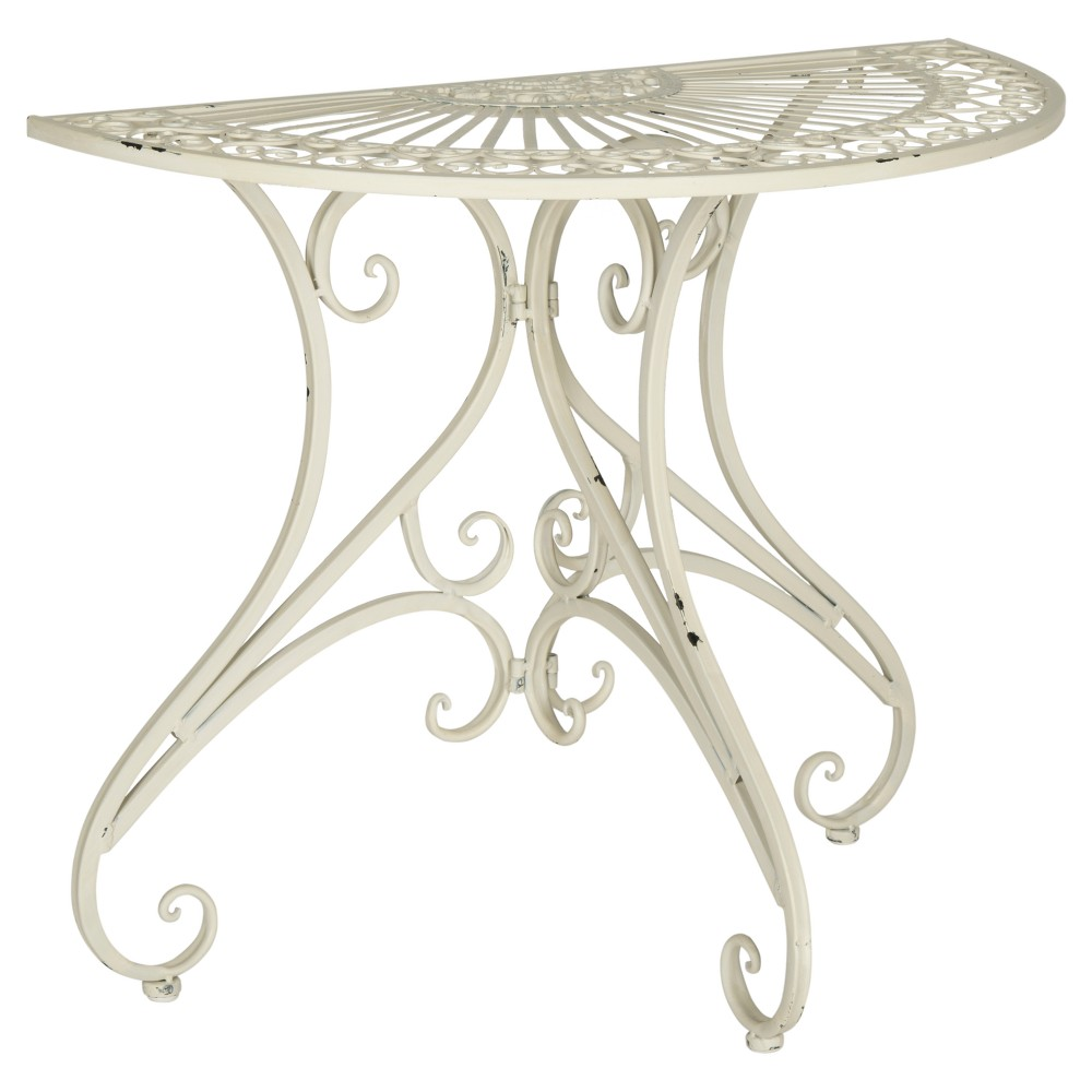 semicircle square patio accent table white safavieh products wrought iron blue and asian lamps bar height with leaf distressed cabinet furniture aspen home outdoor folding theater