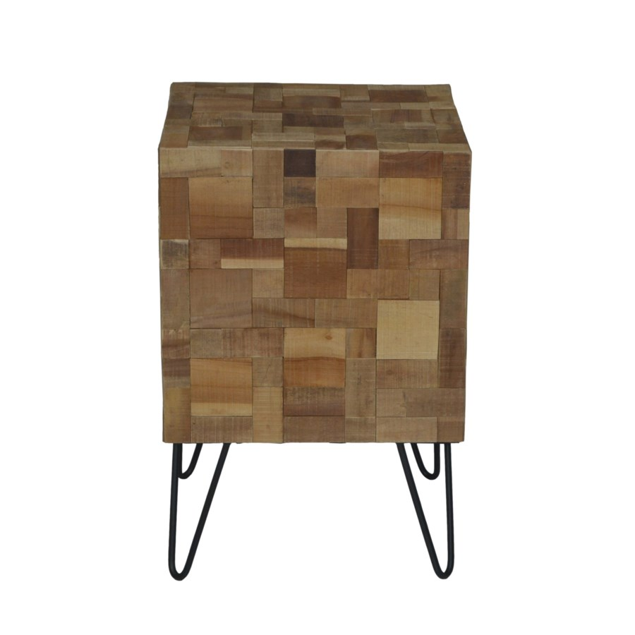 sequoia wood mosaic cube side table with metal angle legs accent ikea ott inch round holiday tablecloth small plant black drum mahogany dining chairs venetian mirrored furniture