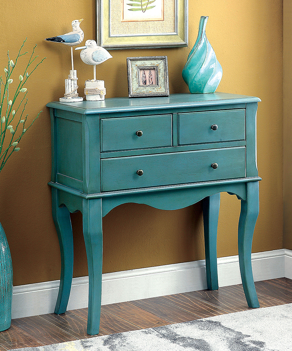 serendipity teal three drawer accent table zulily alt alternate blue ceramic stool corner computer desk with hutch side tables for living room bedroom chairs ikea bedside cream