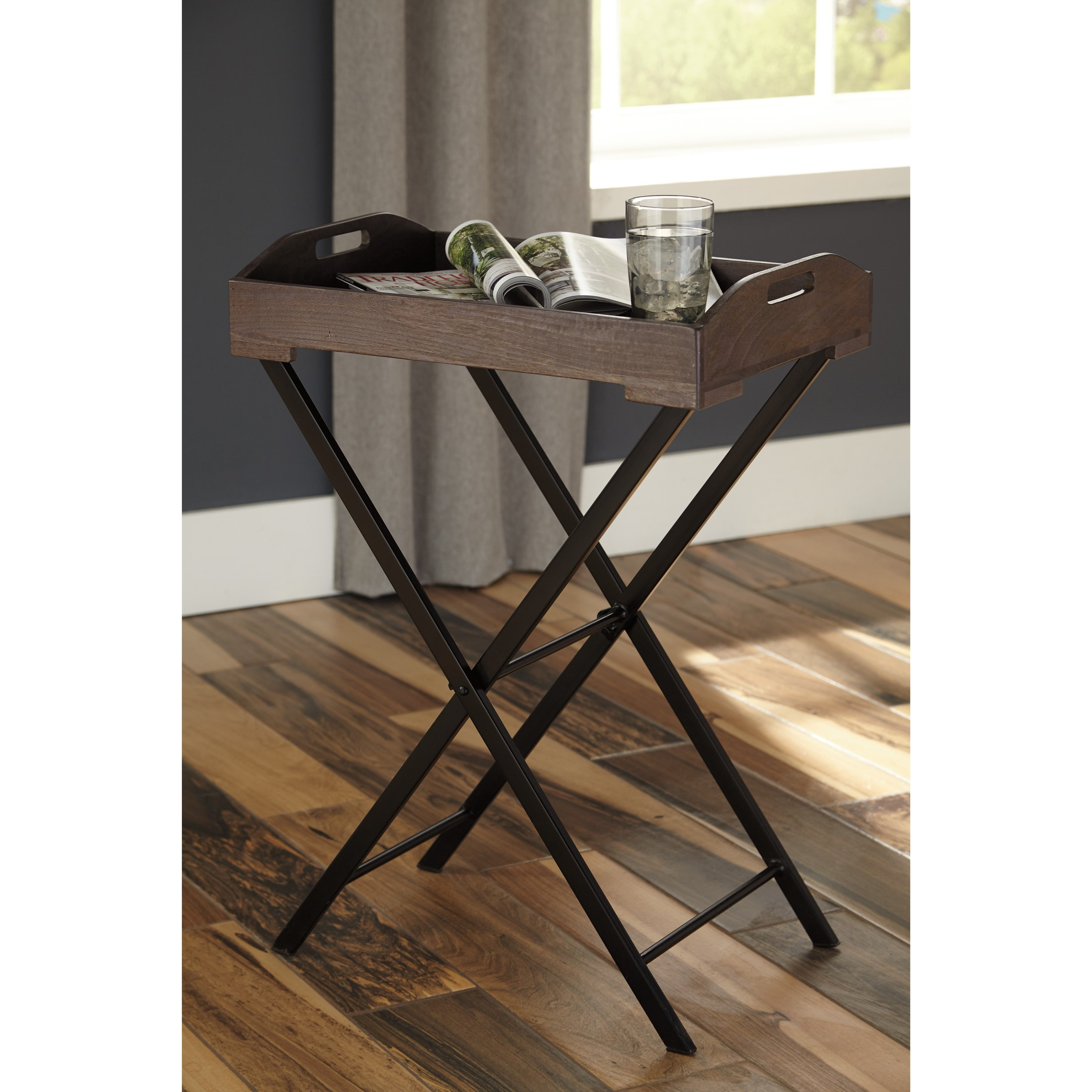 serving tray accent table signature design ashley wolf and products color cadocridge metal small black bedside bistro tablecloths round pier dishes structube coffee espresso