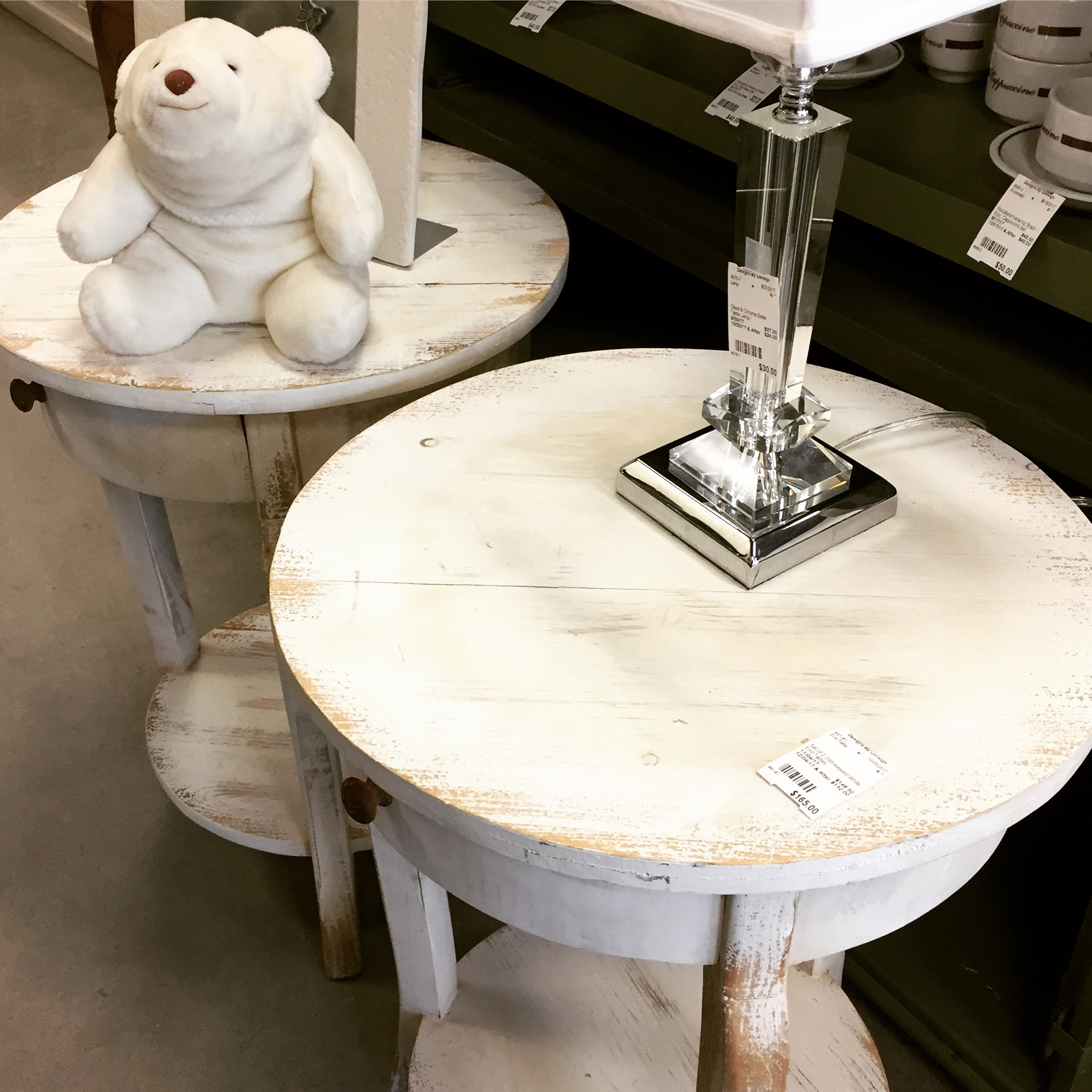 set distressed white accent tables sold designsbyconsign img end wood side table covers for marble top dining room glass replacement outdoor balcony furniture under hobby lobby