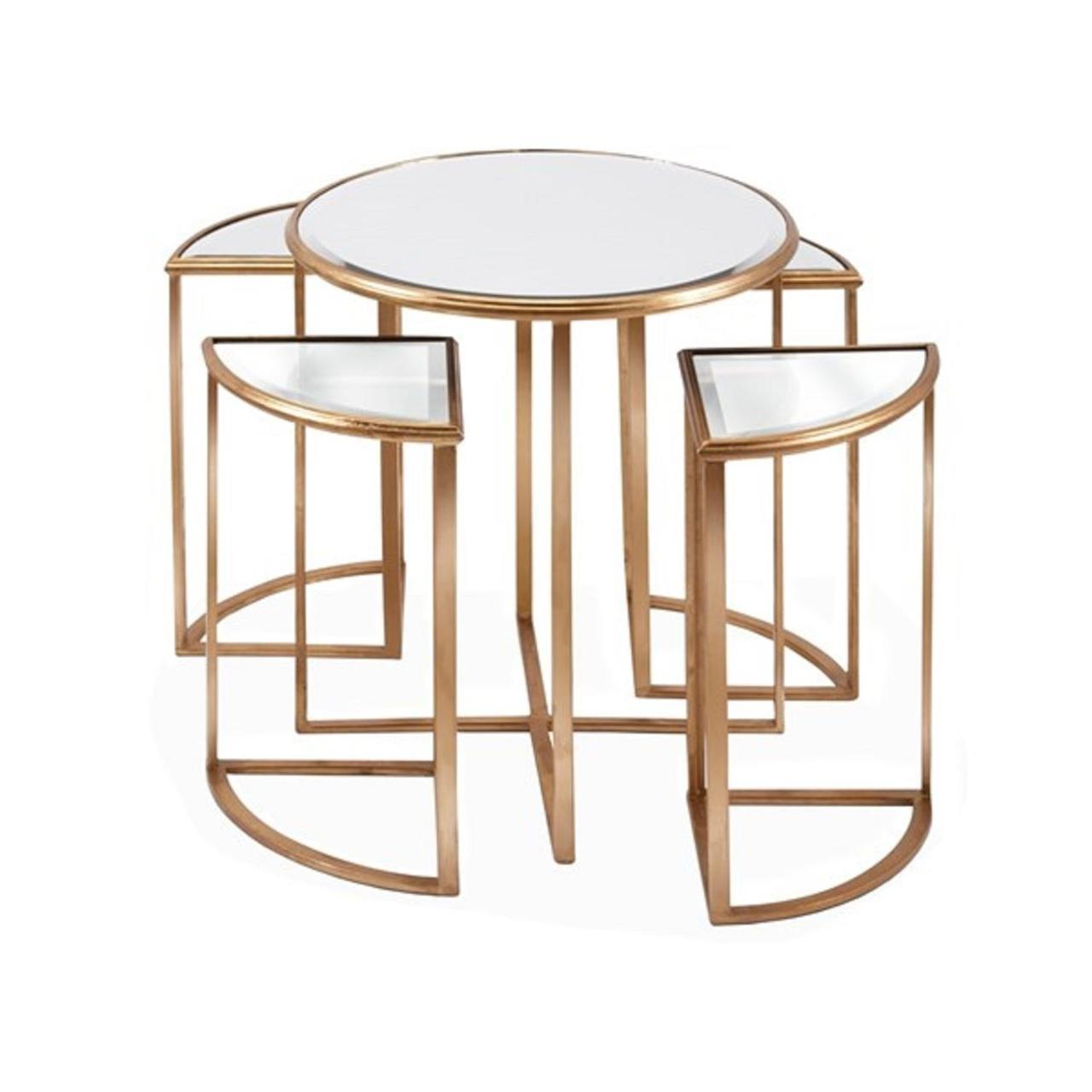 set gold trim decorative metal mirrored nesting accent tables table ashley furniture glass coffee marble top with storage mid century lounge chair dining linens pedestal lamp