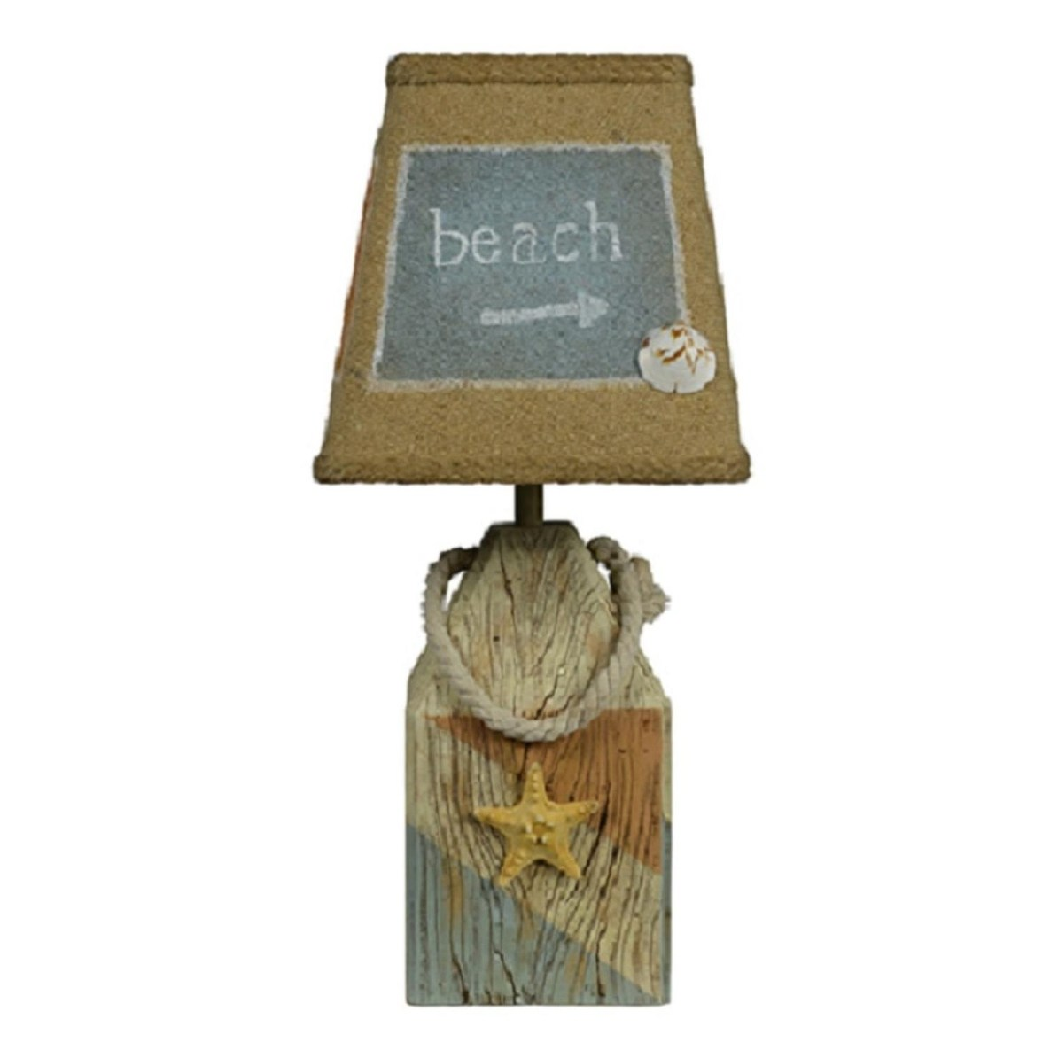 set nautical starfish and shell accent table lamp with white burlap shade lamps brown free shipping today clearance deck furniture monarch hall console inch home decor stuff ikea
