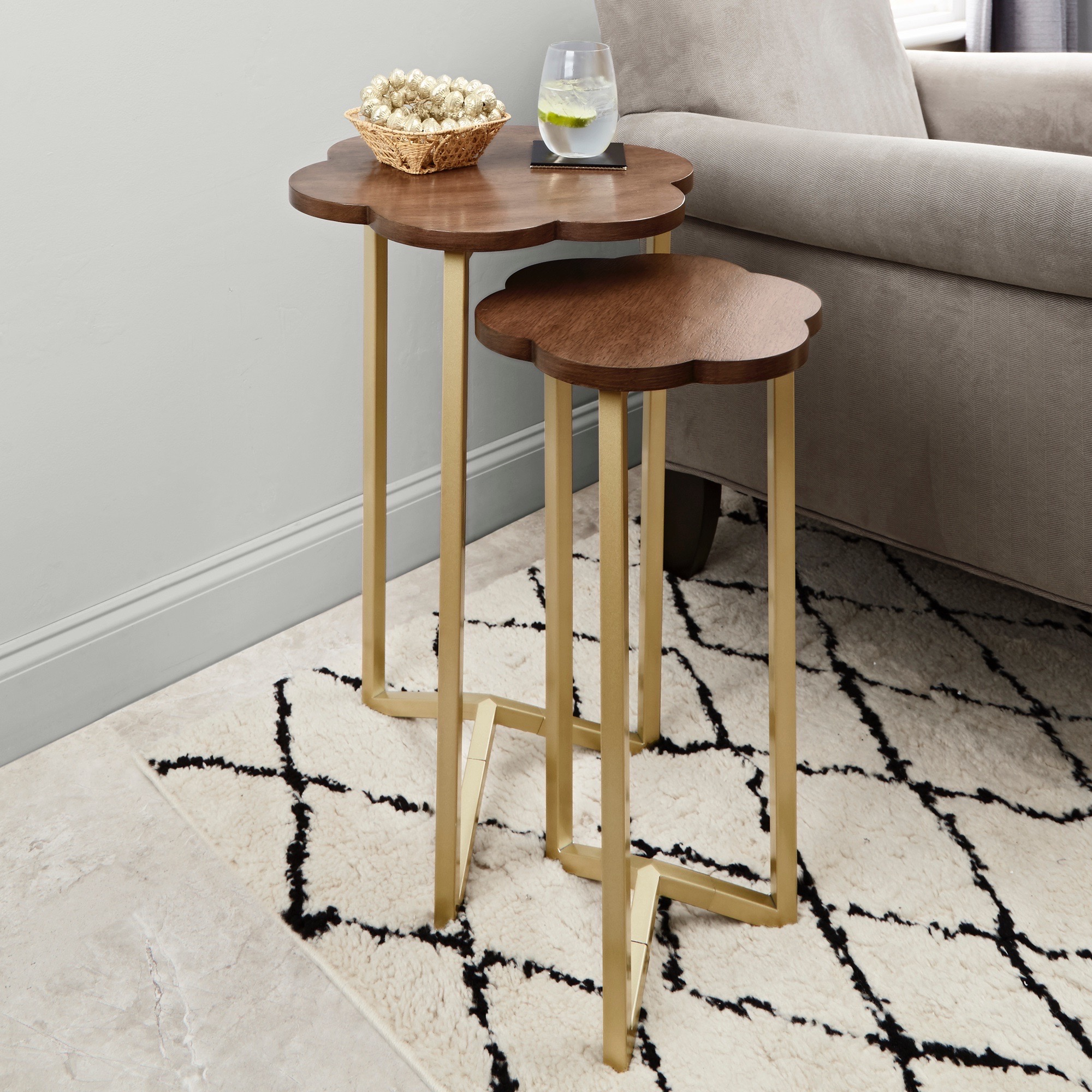 set nesting table living room accent gold wood top end side details home furniture tables red lamp small rattan pier one imports clearance acrylic console lamps mainstays coffee