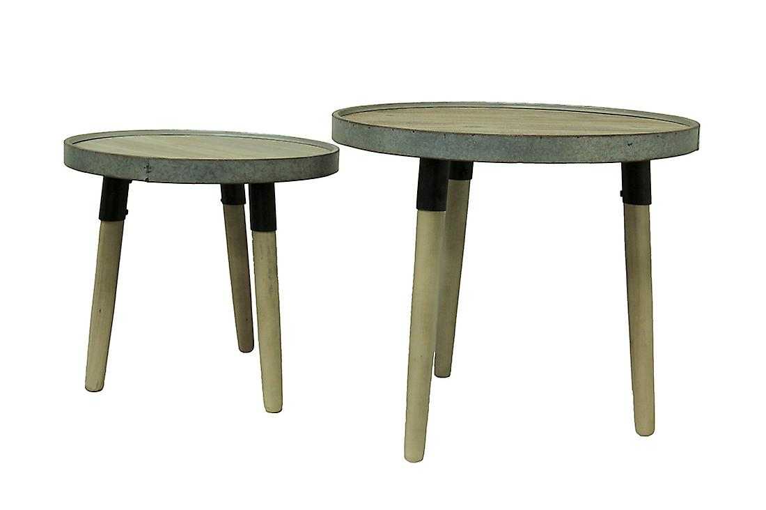 set rustic round wood and galvanized metal accent tables fruugo max table modern legs white concrete coffee nautical desk lamp full futon cover pedestal pottery barn pine mirrored