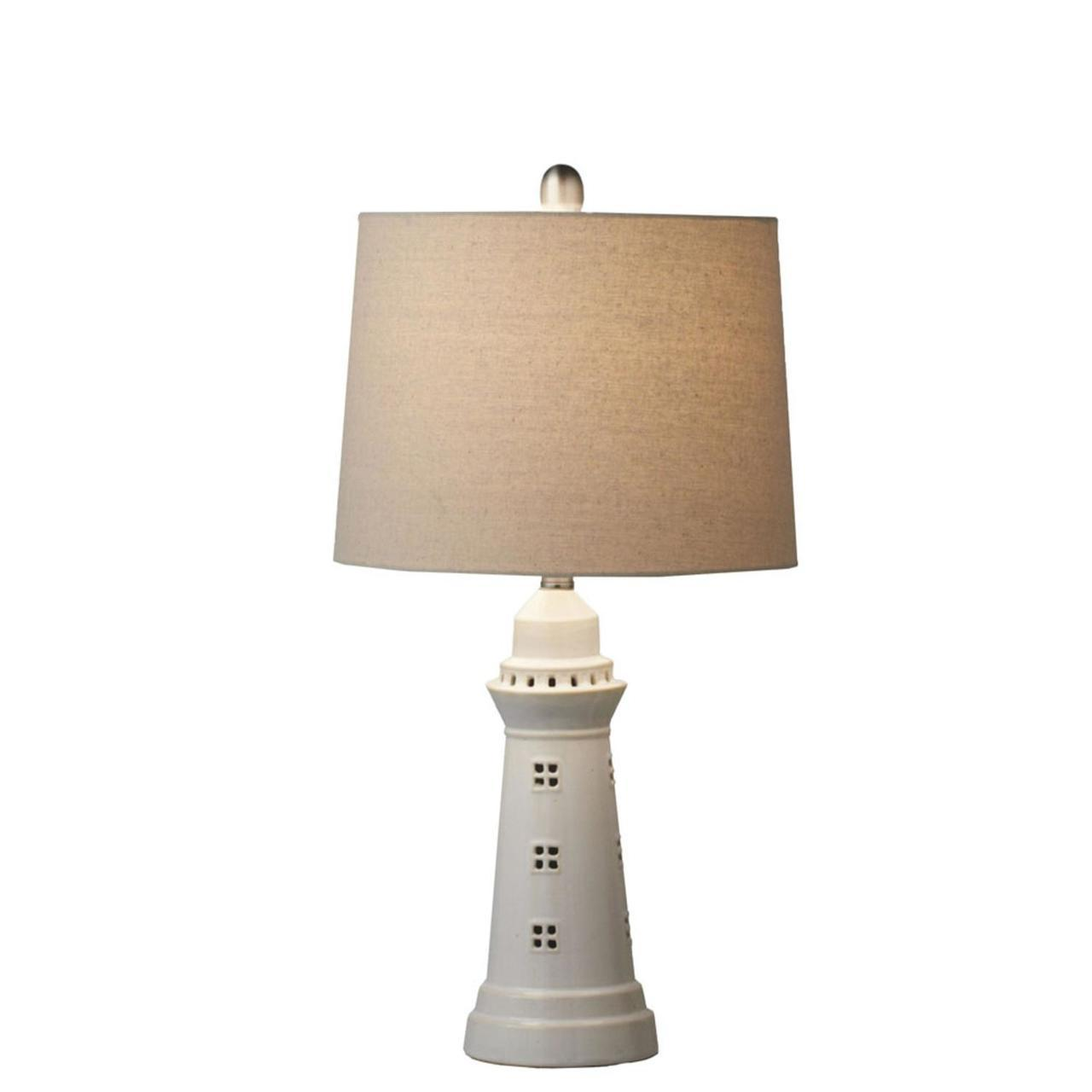 set white decorative lighthouse accent table lamp max lamps glass coffee with metal legs heavy duty drum throne resin wicker end modern patio furniture clearance pottery barn top