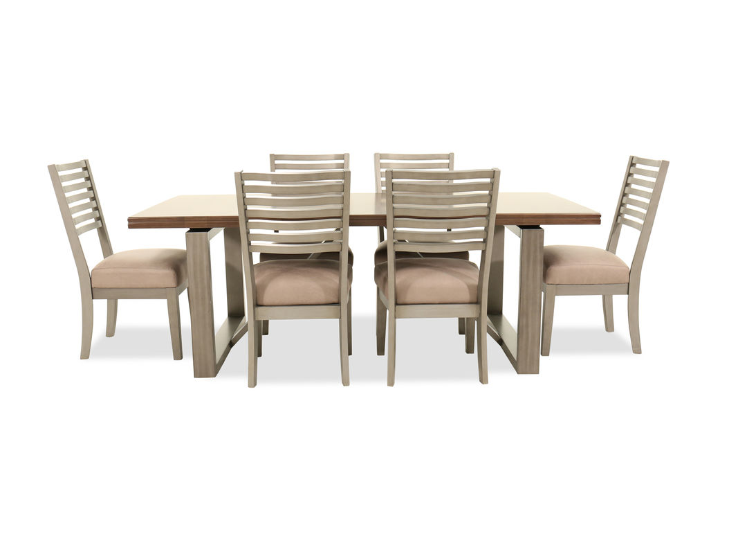 seven piece modern dining set cream mathis brothers furniture haven farc spring umbrella accent table the soothing tones for chairs and base brown tabletop give splendid facelift