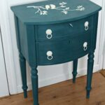 shabby accent table painted denim blue with white bird stencil img aqua the top sold best furniture lamps oval dining cover chair black inch nightstand silver drum side gold 150x150