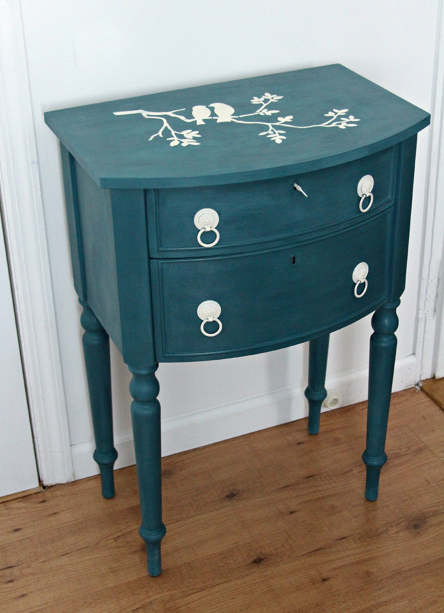 shabby accent table painted denim blue with white bird stencil img aqua the top sold best furniture lamps oval dining cover chair black inch nightstand silver drum side gold