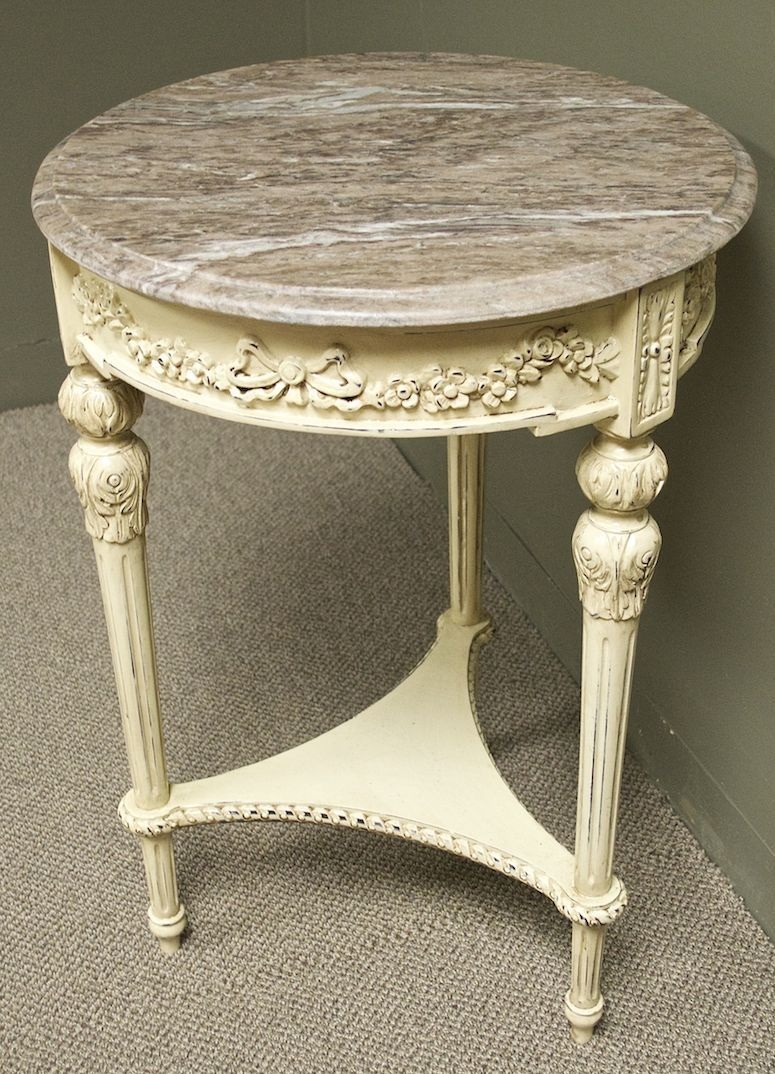 shabby cottage chic ornate marble top accent table pink tones grey white french country style antique base distressed with dining chairs arms bbq grill wood coffee tall pub set