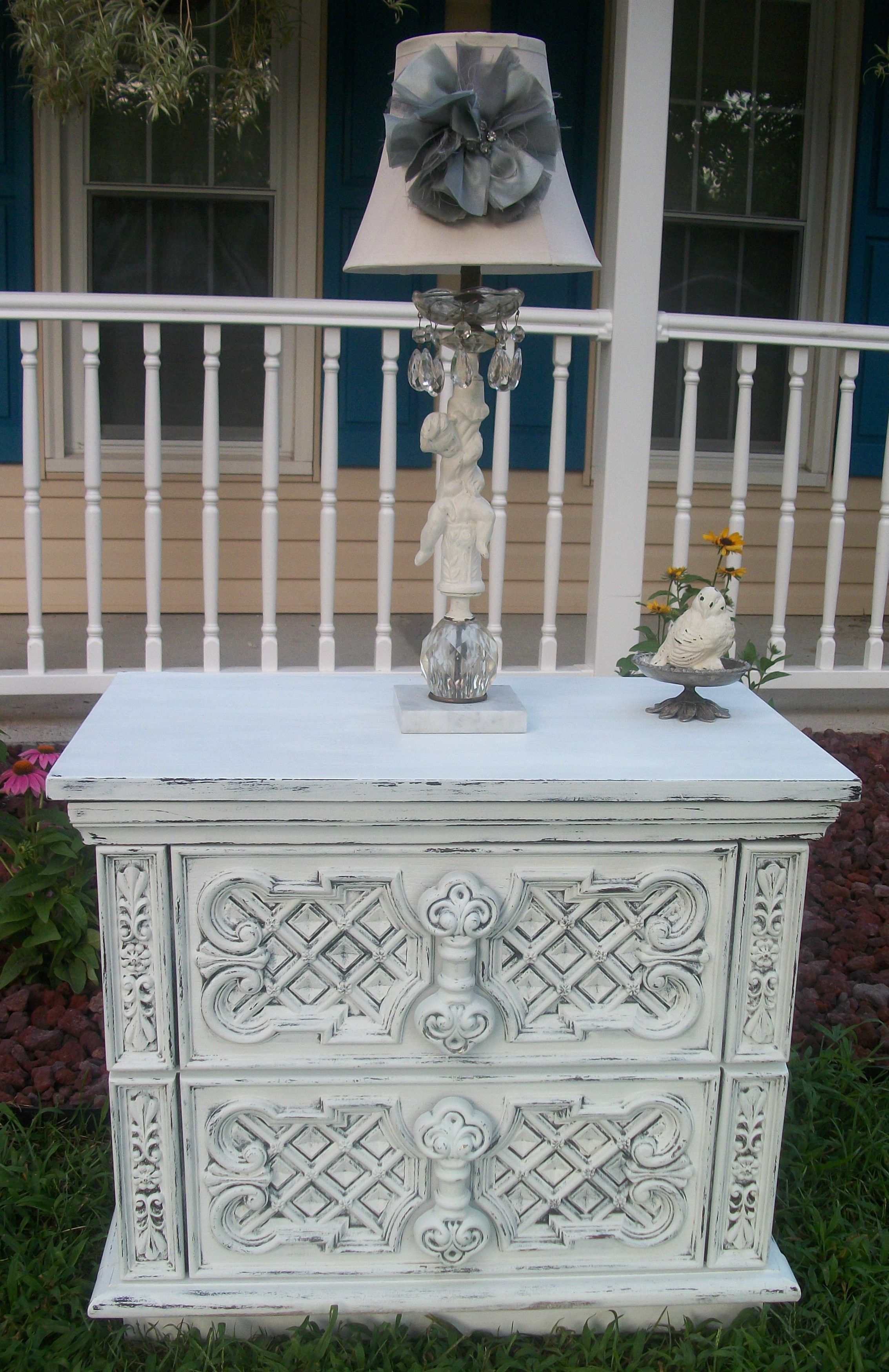 shabby white end side accent table vintage shabfabulous farmhouse ornate scroll flower painted this for here metal folding chairs target pier wall decor clearance black marble