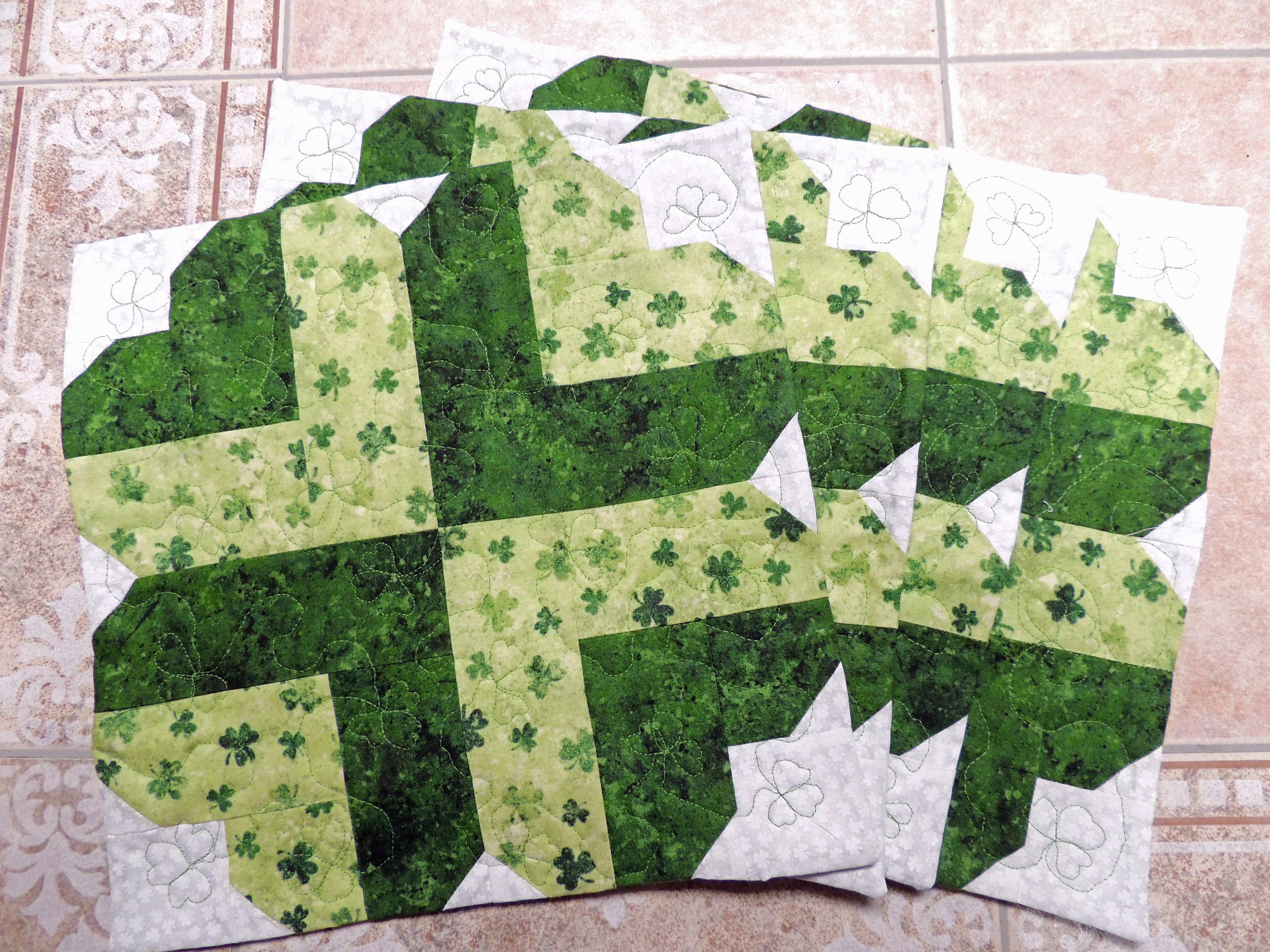 shamrock placemats set green patrick day pieced quilted accent your focus table runner pattern new etsy real wood furniture small outdoor coffee and metal dining inch round