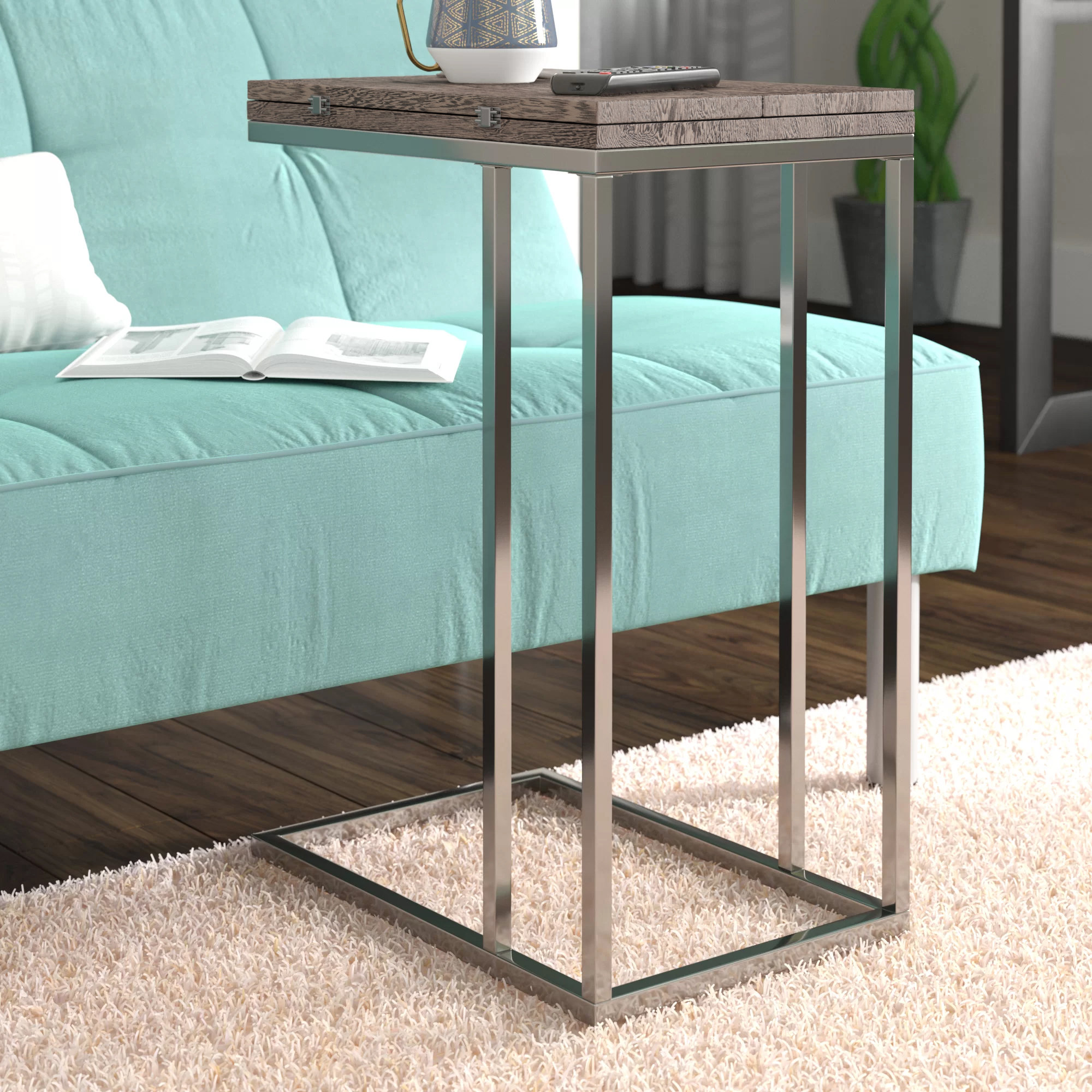shaped side table mccollom end mini accent lewis wood washer and dryer brass finish coffee small half round console sofa set apartment size furniture metal clear chair modern