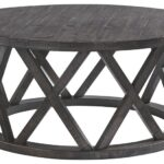 sharzane grayish brown round cocktail table metal glynn accent small tablecloth pub bar height cream runner console and mirror high top legs trestles battery operated lights for 150x150