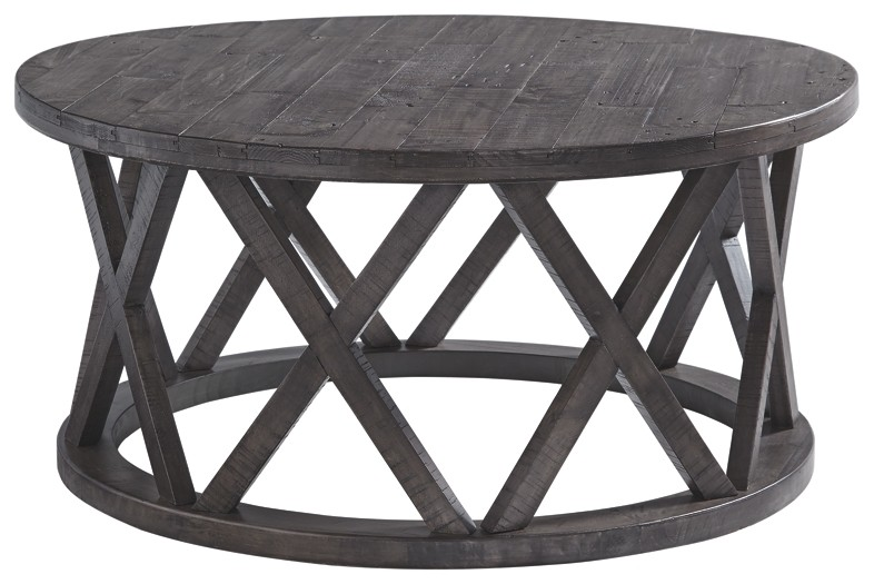 sharzane grayish brown round cocktail table metal glynn accent small tablecloth pub bar height cream runner console and mirror high top legs trestles battery operated lights for