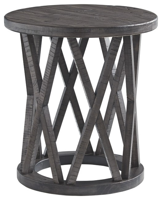 sharzane grayish brown round end table tables zane accent reclaimed wood furniture distressed gray charging station hall console target nightstand verizon ellipsis rectangular