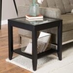 shelby glass top end table with quatrefoil underlay wood accent kitchen dining pedestal side small tall inch patio umbrella hole insert metal bar threshold winsome timmy astoria 150x150