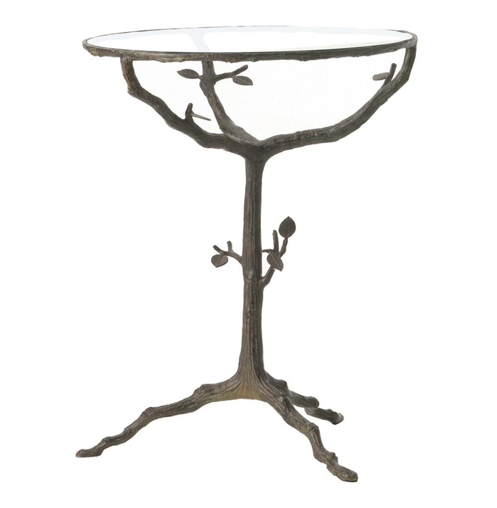 sherwood sculpted tree branch bronze pedestal side accent ceramic pottery barn rustic table stump antique dining room cupboard contemporary clocks stainless steel end day small