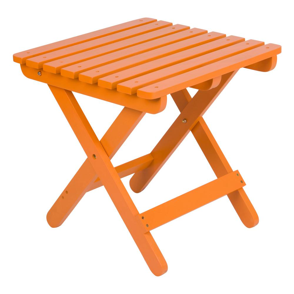 shine company adirondack tangerine square wood folding table outdoor side tables orange short metal ikea dining set two lamps lounge chairs bunnings corner furniture pieces black