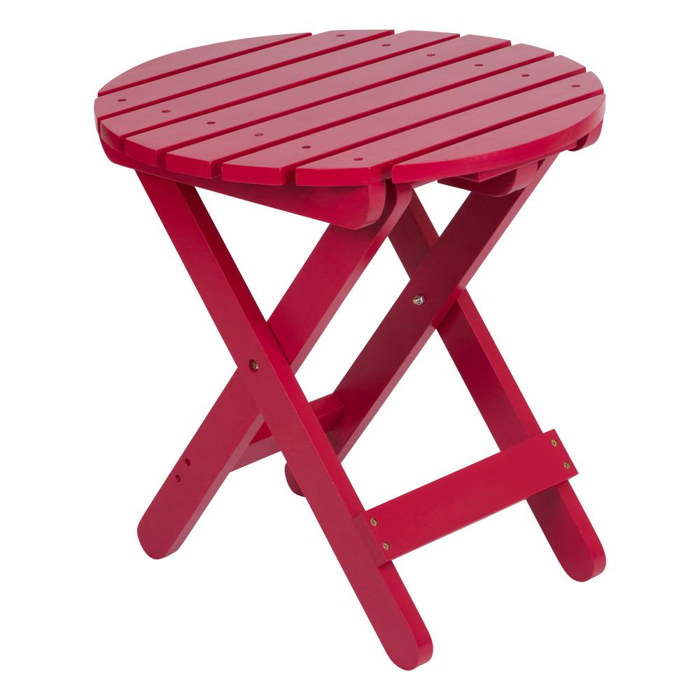 shine company adirondack tomato red round wood folding table outdoor side tables bunnings furniture chairs accent linens couch dining pottery barn small coffee ikea sofa height