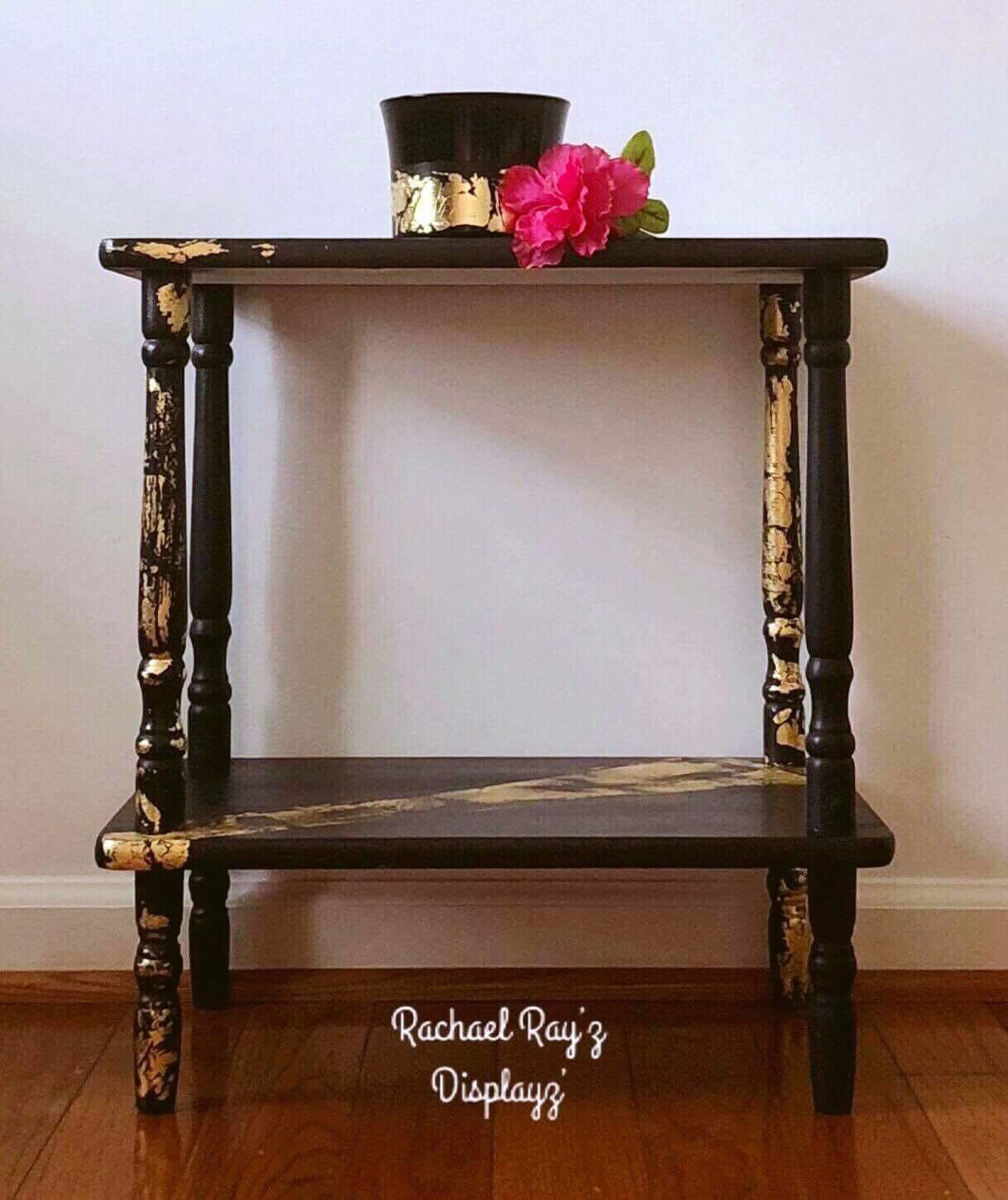 shiny black with gold leafing design funky two tiered accent table plant stand excited share this item from etsy serving tray end foot patio umbrella outdoor side clearance long
